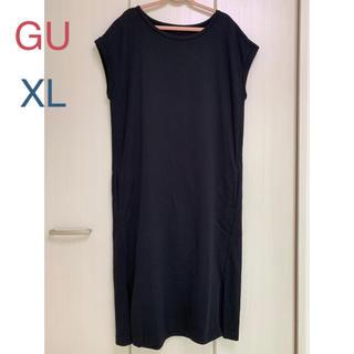ジーユー(GU)の★gu ロングTワンピ スウェット 黒 XL(ロングワンピース/マキシワンピース)