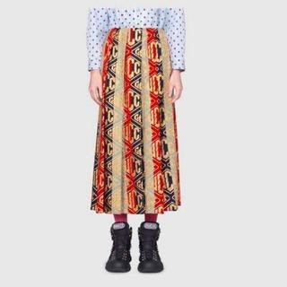 グッチ(Gucci)のgucci グッチ ゲームウール ロングスカート 38 シルヴィウェブカラー(ロングスカート)
