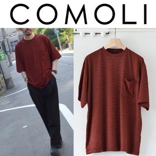 コモリ(COMOLI)の新品 20SS COMOLI ウール天竺 ボーダーTシャツ 2 赤黒 ポケT(Tシャツ/カットソー(半袖/袖なし))