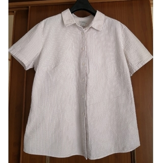 エルエルビーン(L.L.Bean)のLLbean レディース シアサッカーシャツ 半袖 襟付き(シャツ/ブラウス(半袖/袖なし))