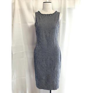 フォクシー(FOXEY)の美品 FOXEY NEW YORK ギンガムチェック ワンピース ドレス(ひざ丈ワンピース)