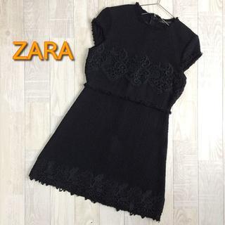 ザラ(ZARA)の【ZARA】袖なしワンピース ブラック M-Lサイズ(ひざ丈ワンピース)