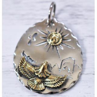 インディアンジュエリー イーグル/フェザーネックレス タタキ silver925