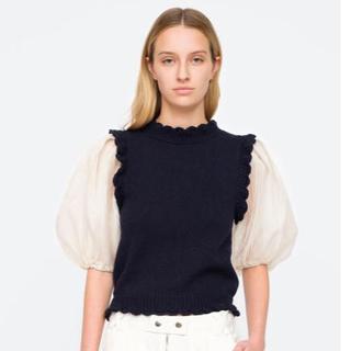 シーニューヨーク(Sea New York)の希少sea new york シーolive sweaterパフスリーブネイビー(ニット/セーター)