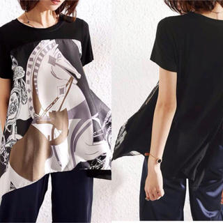 エルメス(Hermes)のスカーフ地の異色素材ストレッチTシャツ L(Tシャツ(半袖/袖なし))