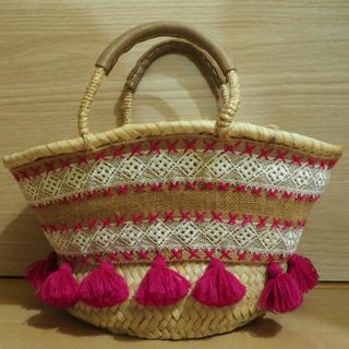ファティマモロッコ(Fatima Morocco)のFatima Moroccoファティマモロッコフリンジかごバッグ(ピンク)(かごバッグ/ストローバッグ)