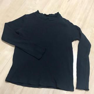 ユニクロ(UNIQLO)のユニクロUNIQLO◆シャーリングリブカットソー・黒140サイズ女の子長袖シャツ(Tシャツ/カットソー)
