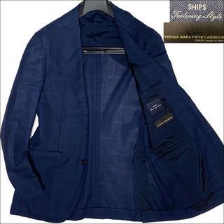 SHIPS - J5208美品 シップス カノニコ生地 ウインドーペーンサマージャケット紺48