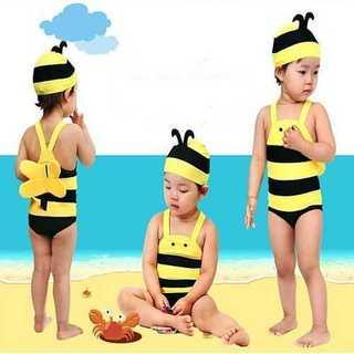 超かわいい ミツバチ ベビー 男の子 女の子 水着 ロンパース かわいい 子供(コスプレ)