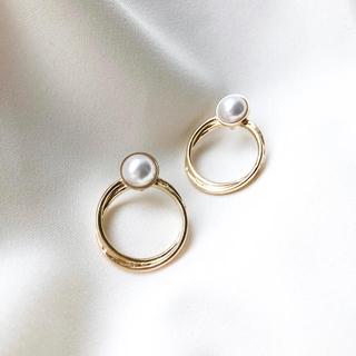 DEUXIEME CLASSE - pearl layered rings clip (earring)