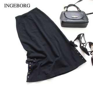 インゲボルグ(INGEBORG)のインゲボルグ★スウェットロングスカート 黒 リボン ロングスカート ゴシック(ロングスカート)