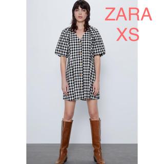 ザラ(ZARA)のZAZA 新品 ギンガムチェック柄ワンピース XS(ミニワンピース)