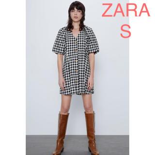 ザラ(ZARA)のZAZA 新品 ギンガムチェック柄ワンピース S(ミニワンピース)