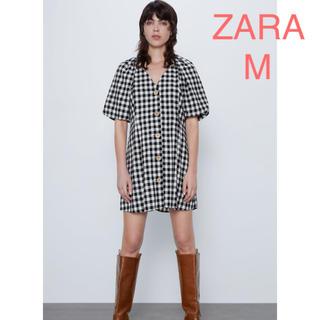 ザラ(ZARA)のZAZA 新品 ギンガムチェック柄ワンピース M(ミニワンピース)