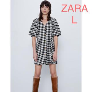 ザラ(ZARA)のZAZA 新品 ギンガムチェック柄ワンピース L(ミニワンピース)