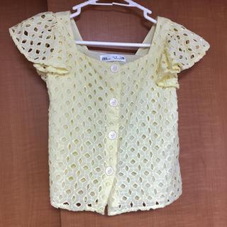 ザラキッズ(ZARA KIDS)のスイス刺繍入りシャツ  イエロー(ブラウス)