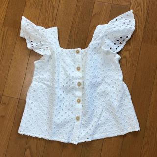 ザラキッズ(ZARA KIDS)のスイス刺繍入りシャツ  オフホワイト(ブラウス)
