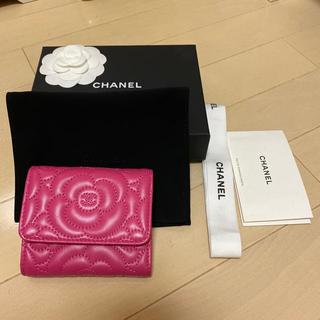CHANEL - ほぼ未使用 CHANEL シャネル 三つ折財布 カメリア