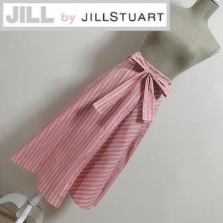 ジルバイジルスチュアート(JILL by JILLSTUART)のジルバイ サマーストライプ柄スカート ピンク(ロングスカート)
