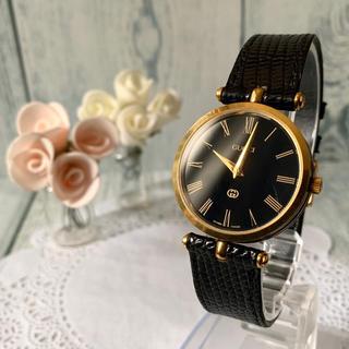 グッチ(Gucci)の【動作OK】GUCCI グッチ シェリーライン 腕時計 ブラック メンズ(腕時計(アナログ))
