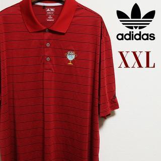 アディダス(adidas)のadidas アディダス ビッグサイズ ボーダー ポロシャツ  XXL レッド(ポロシャツ)