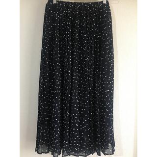 シマムラ(しまむら)の美品 ドット ロング プリーツシフォンスカート  Mサイズ  濃紺(ロングスカート)