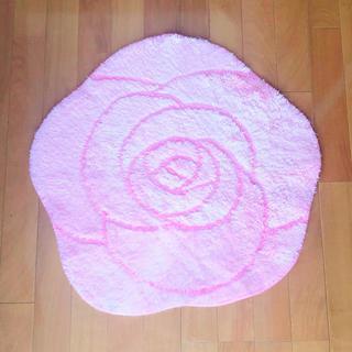 バラ マット バスマット キッチンマット ラグ 絨毯 ピンク