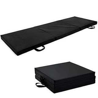 ブラック180*60CMSoomloom 三段 折りたたみ式 スポーツ 体操 マ(トレーニング用品)