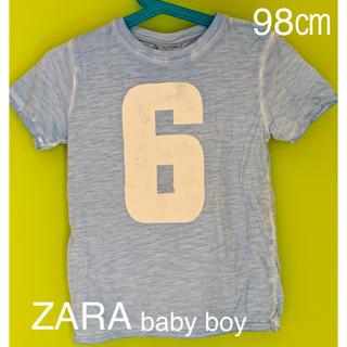 ザラキッズ(ZARA KIDS)の◆ZARA◆98㎝ ナンバーTシャツ 水色(Tシャツ/カットソー)