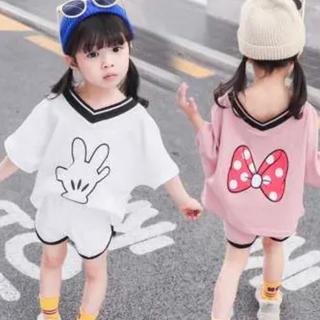キッズ VネックTシャツ&ショートパンツ 韓国子供服 バックプリント 夏物