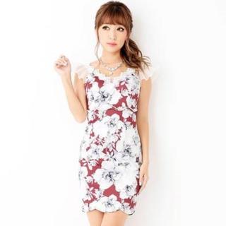 dazzy store - 2ピース風シックflower柄フリルタイトミニドレス【キャバドレス/Mサイズ】