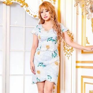 dazzy store - ビジュー付2ピース風フラワープリントタイトミニドレス【キャバドレス/Mサイズ】