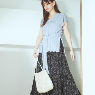 snidel - 新品タグ付 ニット×プリントスカートSET ライトブルー SNIDEL