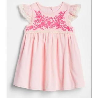 babyGAP -  baby GAP 刺繍 ワンピース ピンク