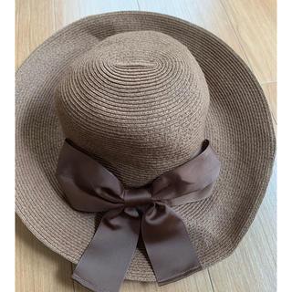 シマムラ(しまむら)の麦わら帽子 レディース ブラウン リボン フリーサイズ 57.5(麦わら帽子/ストローハット)