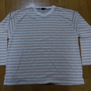 イオン(AEON)の4L Vネック カジュアル長袖Tシャツ 白×ベージュ ボーダー(Tシャツ/カットソー(七分/長袖))