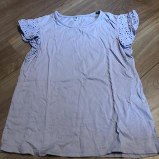 ユニクロ(UNIQLO)のレース袖パープルトップス(Tシャツ/カットソー)