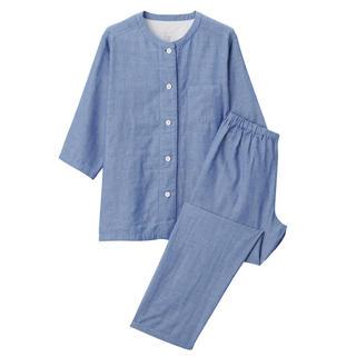 MUJI (無印良品) - 無印良品脇に縫い目のない 細番手二重ガーゼ七分袖パジャマ 婦人S・ネイビー