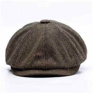 ハット 58cm 帽子 ダークブラウン ホック付き キャスケット ハンチング(ハンチング/ベレー帽)