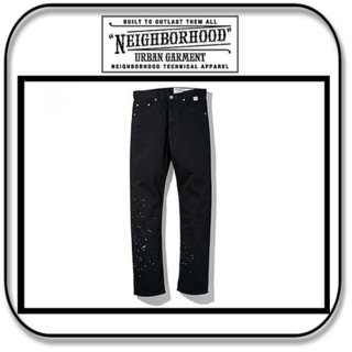 ネイバーフッド(NEIGHBORHOOD)のネイバーフッド ピケ織コットン 滴ペイント ブラック 「M」(デニム/ジーンズ)