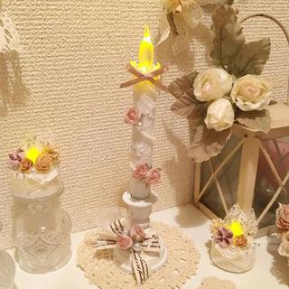 ミニ薔薇燭台付きLEDキャンドル(アロマ/キャンドル)