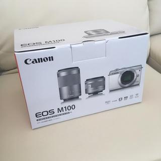 キヤノン(Canon)の新品 CANON EOS M100 ミラーレス一眼 ダブルズームキット グレー(ミラーレス一眼)