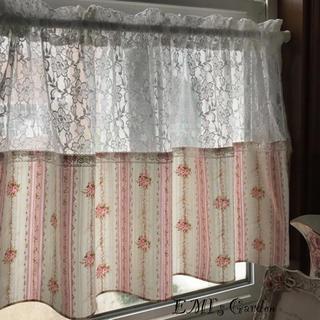 ラッセルレース とバラのブーケ カフェカーテン(カーテン)