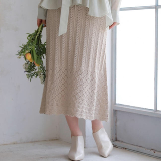 ミスティウーマン(mysty woman)の透かしニット裾フリルスカート(ロングスカート)