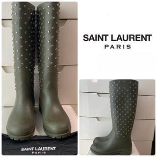 Saint Laurent - サンローラン カーキラバー ビジュー レインブーツ