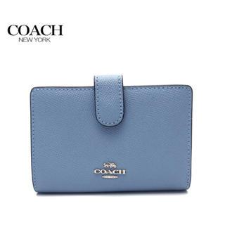COACH - 【即日発送】タグ付き新品★COACH 二つ折り財布 ストレートブルー