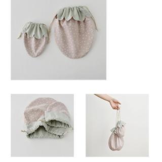 ミナペルホネン(mina perhonen)のチェックアンドストライプ  いちご巾着 キット(生地/糸)