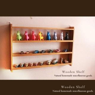 ハンドメイド アンティーク風 薄型 シェルフ☆木製 棚 ナチュラル(家具)