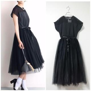メルロー(merlot)の【半額以下】新品 メルロープリュス デコルテシースルーワンピース ブラック(ミディアムドレス)