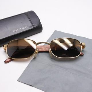 カルティエ(Cartier)のCARTIER カルティエ 木 140b 52□22 ウッド サングラス 正規(サングラス/メガネ)